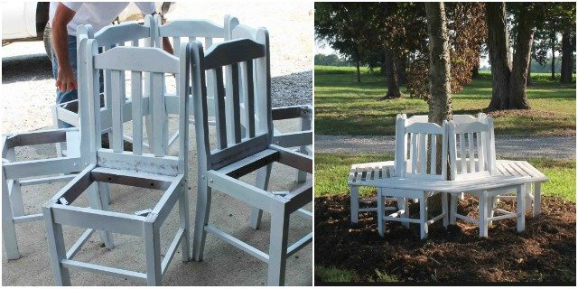 How to Build Recycled Chair Tree Bench tutorial