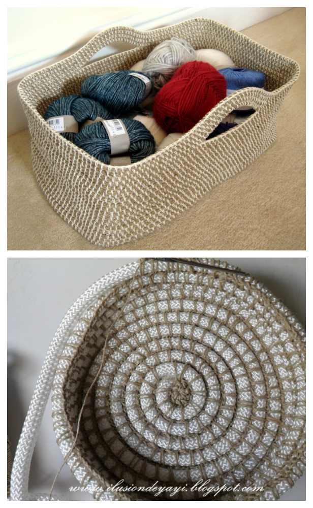 DIY Crochet Rope Basket Free Pattern Tutorial