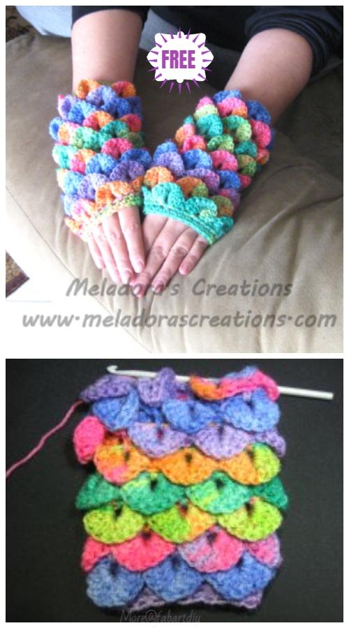 Crocodile Stitch Crochet Dragon Glove Free Crochet Pattern