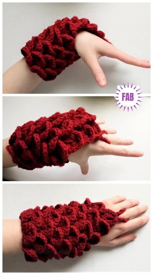 Crochet Dragon/Crocodile Scale Gauntlets Free Crochet Pattern