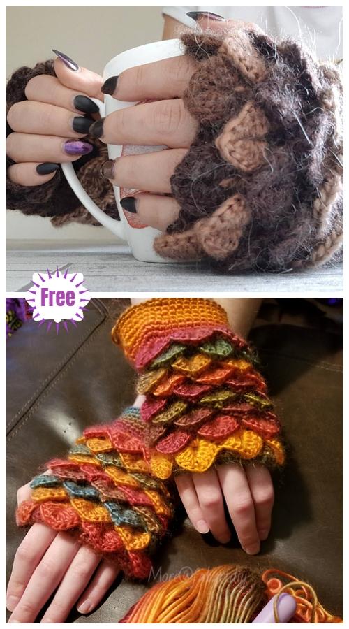 Crocodile Stitch Crochet Dragon Glove Free Crochet Patterns