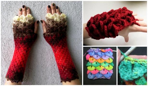 diy crocodile stitch crochet dragon glove free pattern