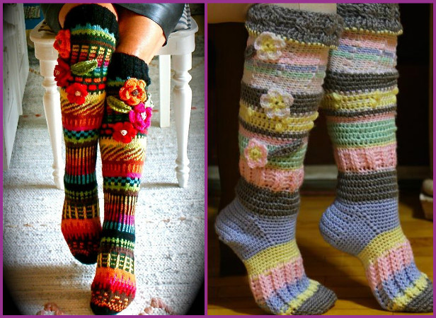 Free Crochet Patterns For Knee High Socks : DIY Crochet Knee High Socks Free Pattern