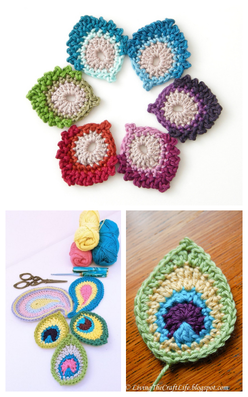 DIY Crochet Peacock Feather Free Patterns