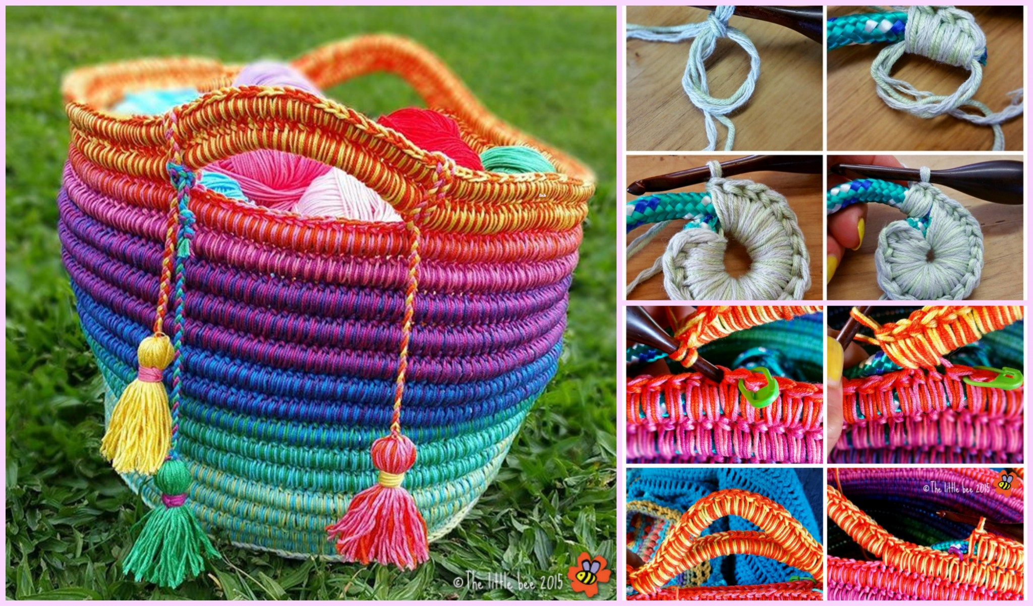 DIY Crochet Rainbow Rope Basket Free Pattern