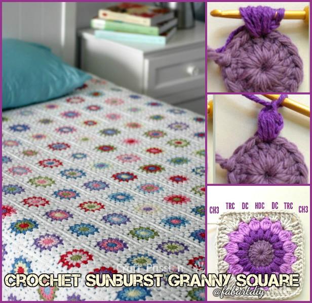 DIY Crochet Sunburst Granny Square Blanket Free Pattern (Video)