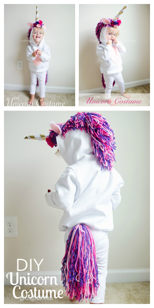 20+ DIY Halloween Costume Tutorials for All Ages -DIY Sweatsuit Unicorn Costume Tutorials