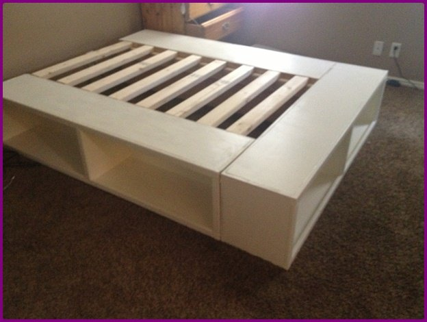 DIY IKEA Bookshelf Platform Bed with Storage-DIY Bookshelf Bed Tutorial & DIY IKEA Bookshelf Platform Bed with Storage (Video)