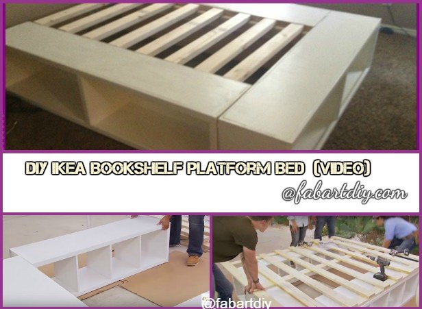 DIY IKEA Bookshelf Platform Bed with Storage-DIY Bookshelf Bed Tutorial