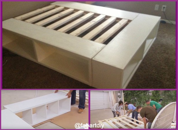 DIY IKEA Bookshelf Platform Bed with Storage (Video)