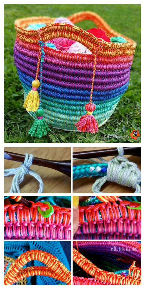 DIY Rainbow Rope Basket Free Crochet Pattern