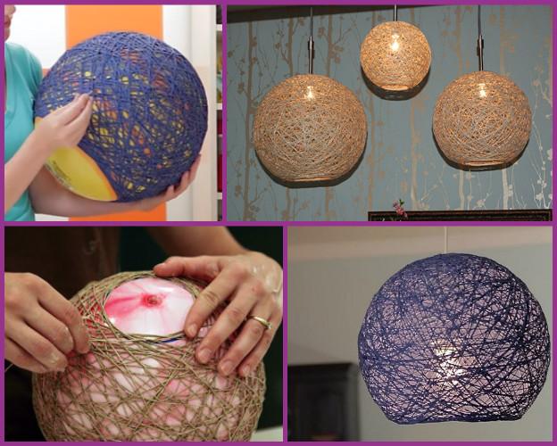 DIY Yarn Chandelier Lampshade-Globe Pendant Lamp (Video)