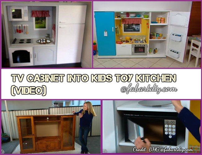 DIY Recycle TV Cabinet into Kids Toy Kitchen Tutorial-Video