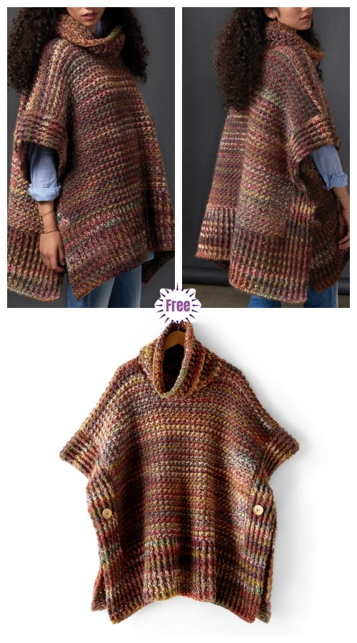 Crochet Tweed Under Wraps Poncho Sweater Free Crochet Pattern