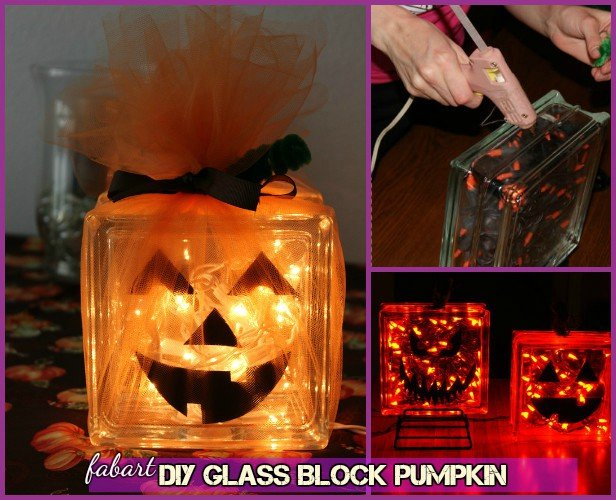 DIY Alternative Pumpkin Craft Ideas -DIY Glass Block Pumpkin Tutorial