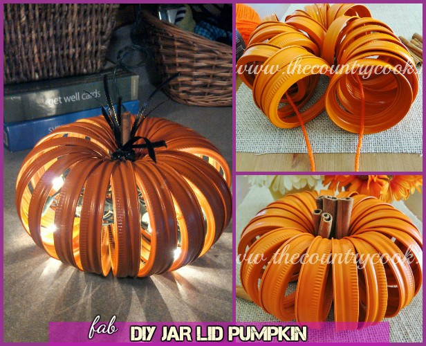 DIY Alternative Pumpkin Craft Ideas -DIY Mason Jar Lid Pumpkin