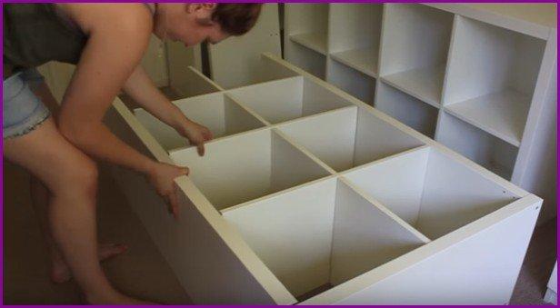 DIY IKEA Bookshelf Raised Bed With Under Storage - Video