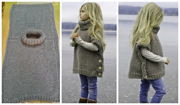 DIY Poncho Style Pullover Sweater Knitting Pattern