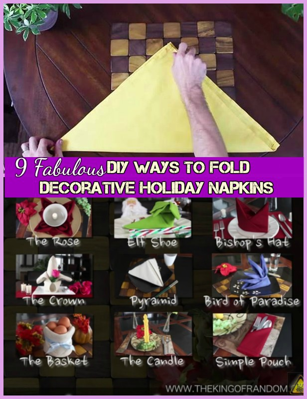 9 DIY Ways to Fold Decorative Holiday Napkins Tutorial+Video