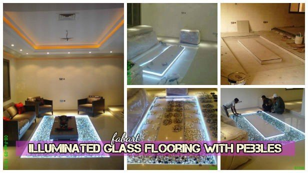DIY LED Lighted Glass Flooring with Pebbles Tutorial