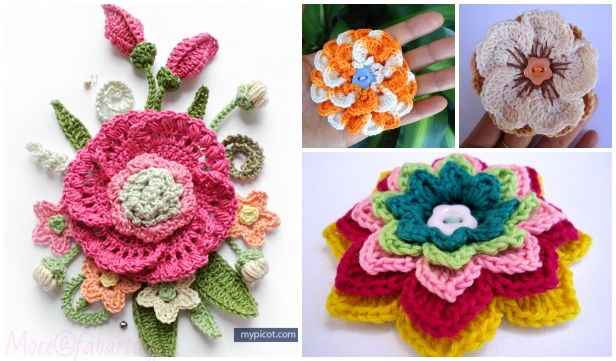 3D Crochet Spring Flower Free Crochet Patterns