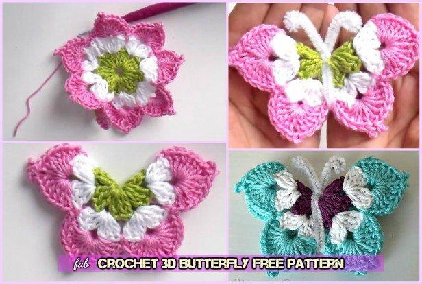 Crochet 3D Butterfly Free Pattern Tutorial-Video