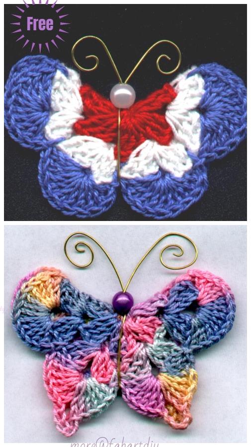 Crochet 3D Mary G Butterfly Free Crochet Pattern