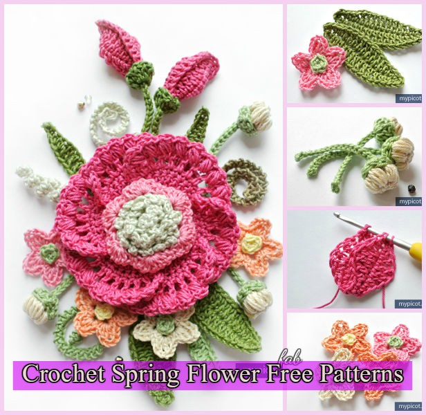 3D Crochet Spring Flower Free Patterns