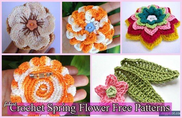 3D Crochet Spring Flower Free Patterns