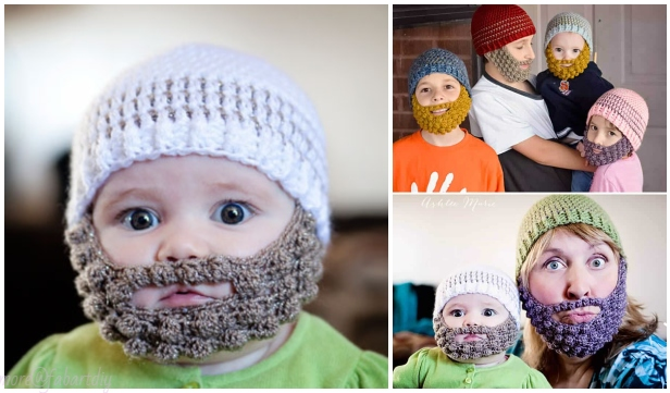 649103281c5 DIY Crochet Bobble Beard Hat Free Pattern-Video