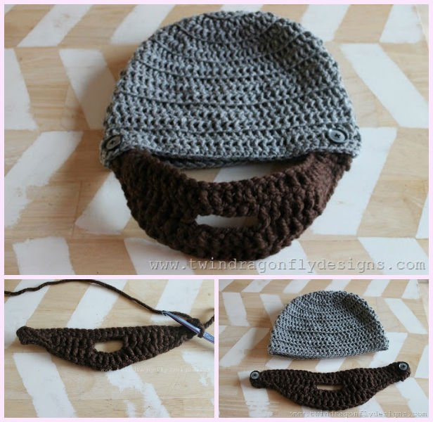 edd886158ee DIY Crochet Bobble Beard Hat Free Pattern-Video