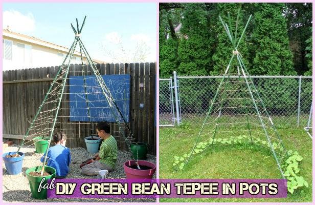 DIY Kids Living Bean Teepee Green Playhouse in Flower Pots