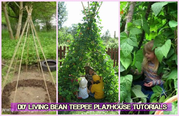 DIY Kids Living Bean Teepee Green Playhouse Tutorial