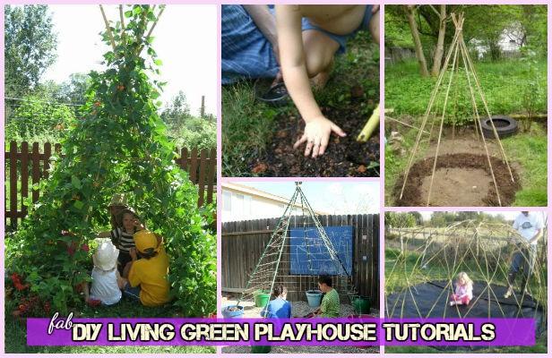 DIY Kids Living Teepee Green Playhouse