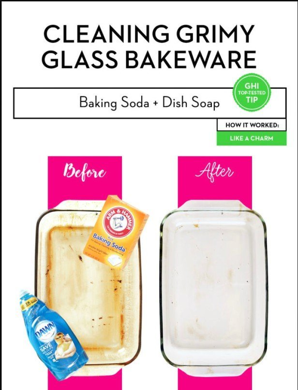 Kitchen Cleaning Hacks to Clean Burnt Glass Baking Sheet with Baking Soda+Dish Soap