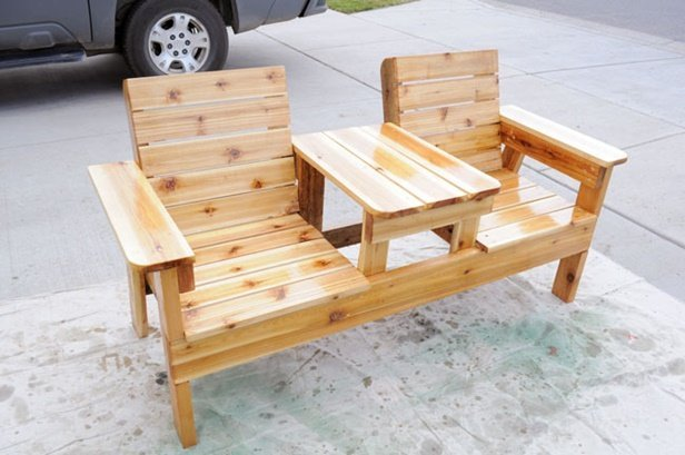 DIY Double Chair Bench With Table Tutorial -Video