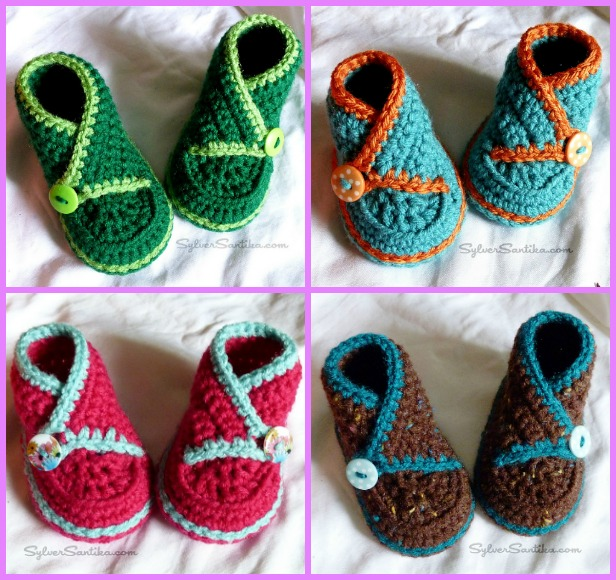 Crochet Baby High Top Kimono Booties Pattern