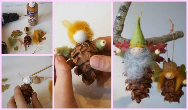 DIY Pinecone Craft Ideas - Pine Cone Fairy Ornament Tutorial