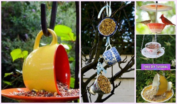 DIY Recycled Teacup Bird Feeder Tutorials for Garden Decoration