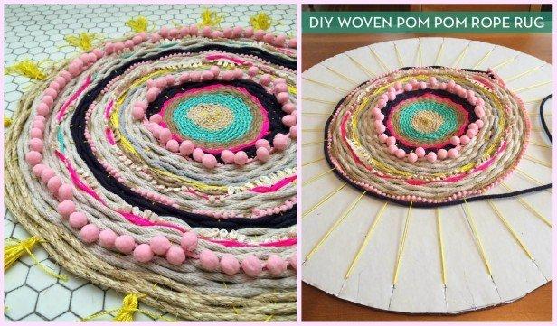 DIY Cardboard Loom Pom Pom Woven Rug Tutorial