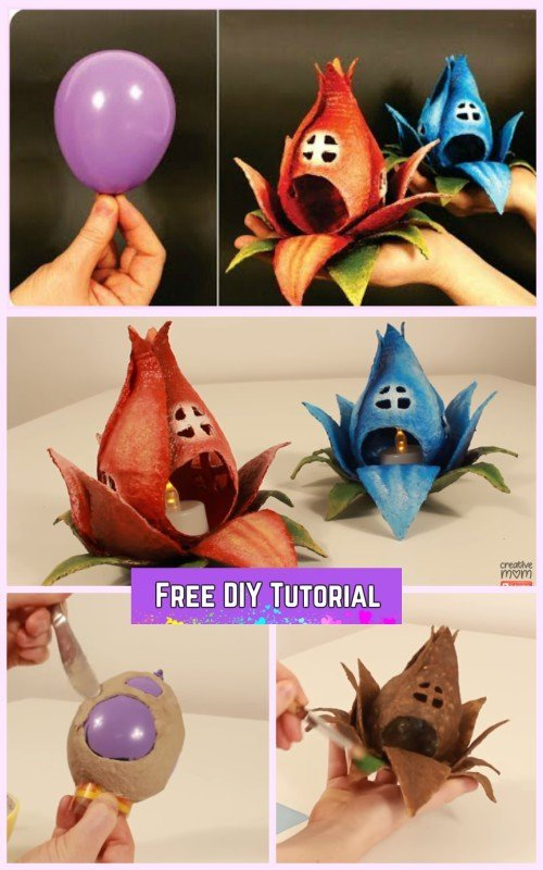 DIY Fairy House Flower Tealight Tutorial Using Balloon