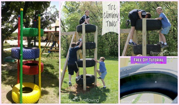 DIY Recycled Tire Climbing Tower Tutorial