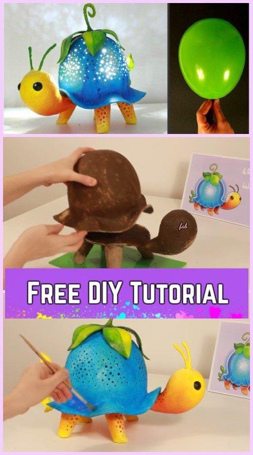DIY Turtle Lamp Tutorial Using Balloon
