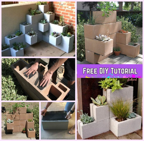 DIY Vertical Corner Cinder Block Planter Tutorials-Video
