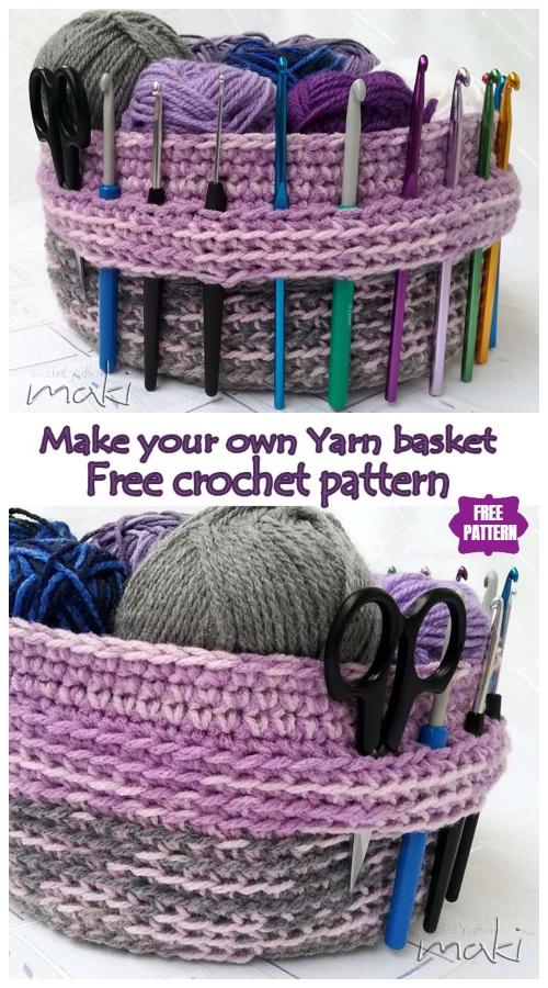 Crocheter's Love Yarn basket Free Crochet Pattern