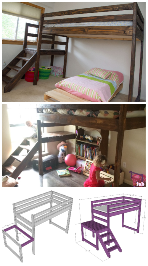 DIY Camp Loft Bed with Stairs Tutorial - Junior Size Bed Frame
