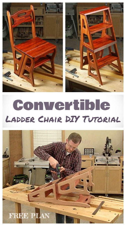 DIY Convertible Folding Ladder Chair Free Plan