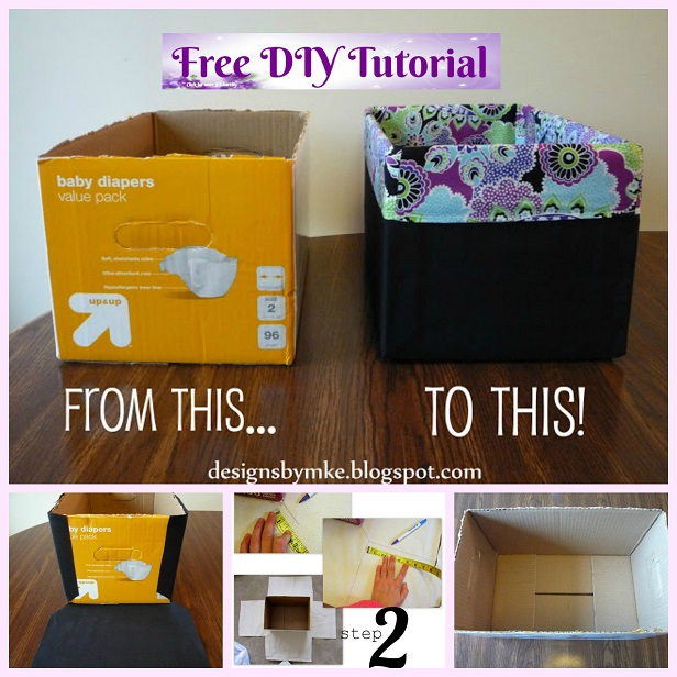 DIY Diaper Box Into Storage Bin Tutorial-Super Easy