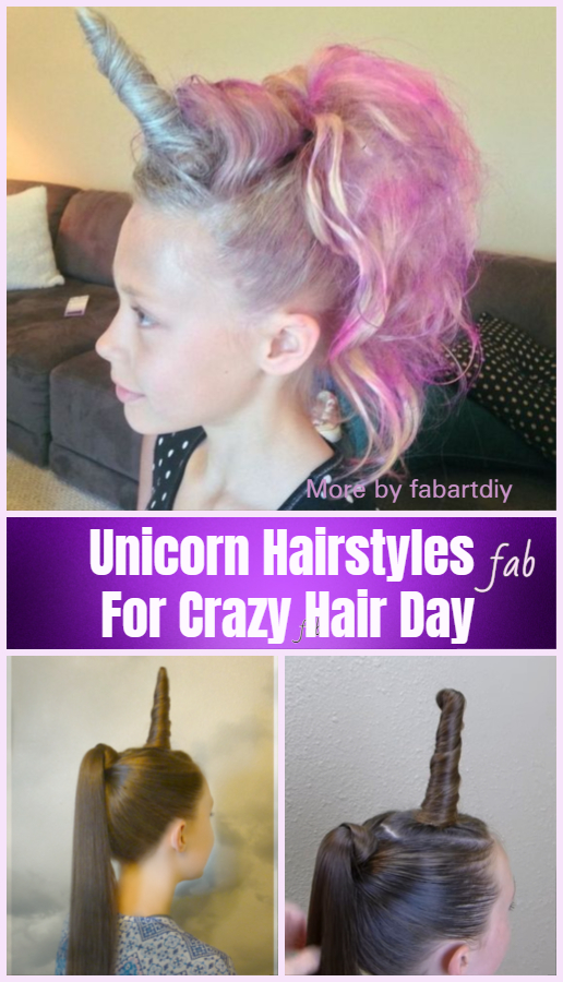 DIY Unicorn Hairstyle Tutorials For Crazy Hair Day!