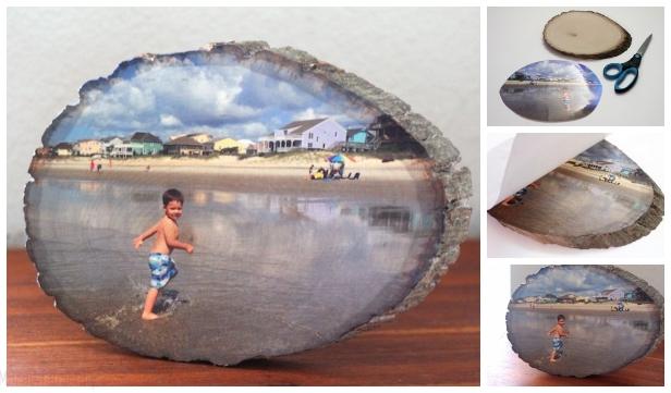 Easiest Way to Transfer Photo On Wood Slice DIY Tutorial - Video
